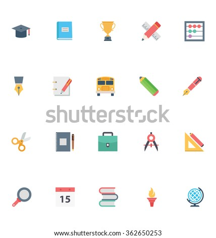 Flat Education Vector Icons 1
