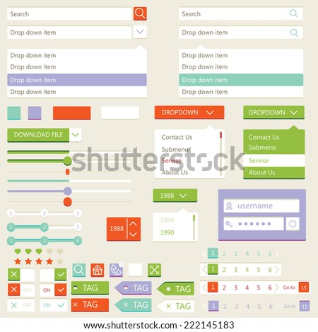 Flat elements design,  set. Vector illustration