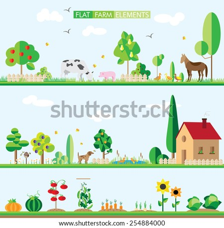 flat elements of the farm. background, vector - stock vector