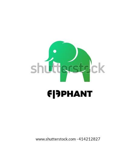 little cute elephant silhouette vector illustration stock
