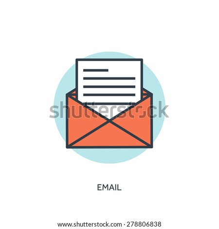 Flat email lined icon. - stock vector