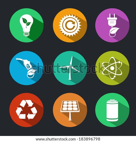 Flat energy and ecology icons set with light bulb nuclear power and gas station decorative elements isolated vector illustration - stock vector