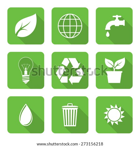 Flat environment icons with long shadows. Vector illustration - stock vector