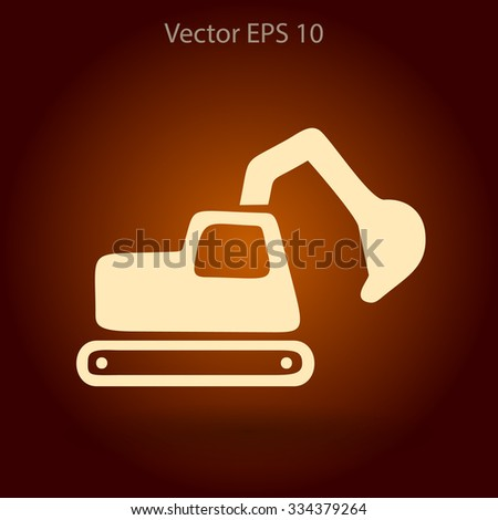 Flat excavator icon. Vector - stock vector