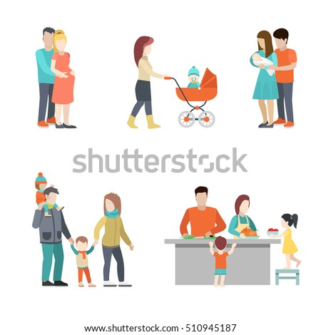 Flat Family cooking, having fun, baby in pram, pregnant woman in husband hands vector illustration set. Casual life, seasons parenting people icons collection concept.