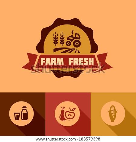 Flat Farm fresh labels. Organic Farming vector sign set. - stock vector