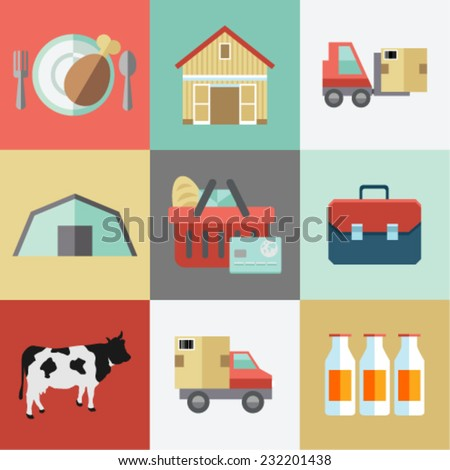 Flat farming icons with Long Shadow - stock vector