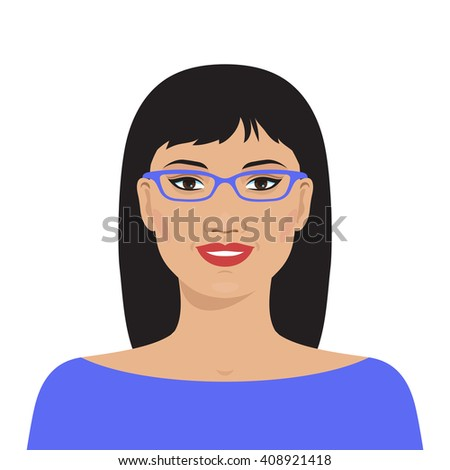 Flat female face. Avatar of smiling pretty asian woman with glasses. Vector illustration.  - stock vector