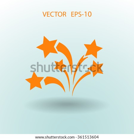 Flat firework icon. Vector. - stock vector