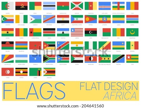 Flat Flags Africa 2014 - stock vector