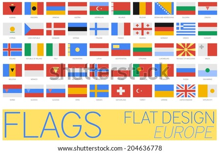 Flat Flags Europe 2014 - stock vector