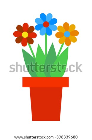 Flat flower pot and flower pot with colorful flowers. Nature flower pot and spring decoration flower pot. Flower Pot garden bloom season flat vector. Spring colorful garden flowers in pot vector. - stock vector