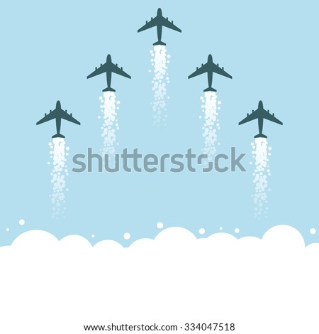 Flat flying planes with clouds. Vector illustration