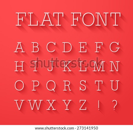 Flat font with shadow effect. Vector illustration. - stock vector