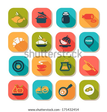 Flat Food Icons Set Created For Mobile, Web And Applications. - stock vector