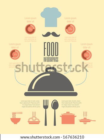 Flat Food Infographic Elements plus Icon Set. Vector. - stock vector