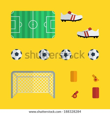 Flat football icons design with yellow background - stock vector