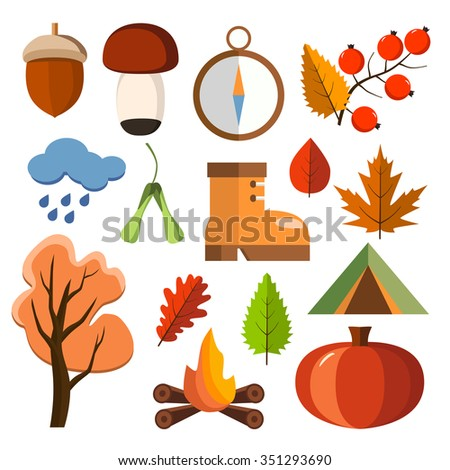 Flat forest icon set. Autumn forest flat icons. Simple and cute icons for your design - stock vector
