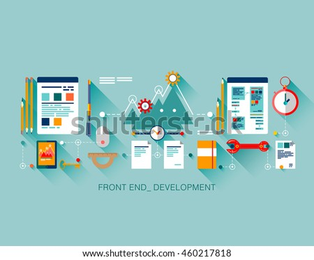 Flat front end development of application programming, client web software and testing. Flat, line graphic image concept, website elements layout, one page web design template with thin line icons.