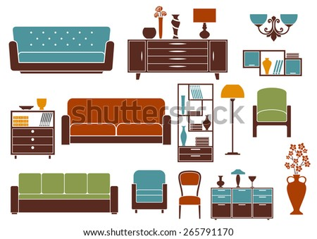 Flat furniture and interior design elements depicting sofas, modern armchairs and chair, wooden chests of drawers, bookcase and bookshelf, vintage floor vase, lamps and chandelier - stock vector