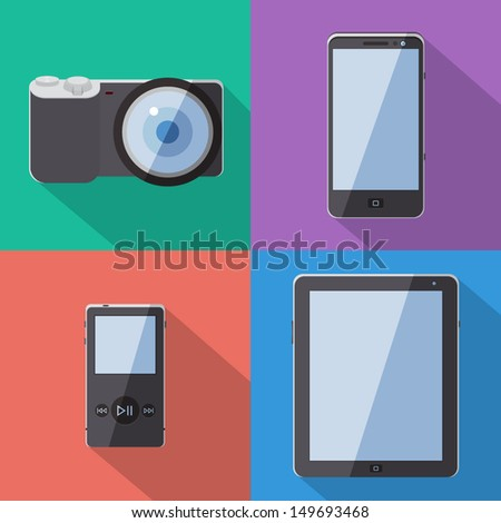 Flat gadgets with long shadow vector set - stock vector