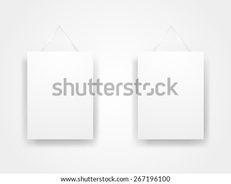 Flat Gallery Interior Wall with Blank Frames - stock vector