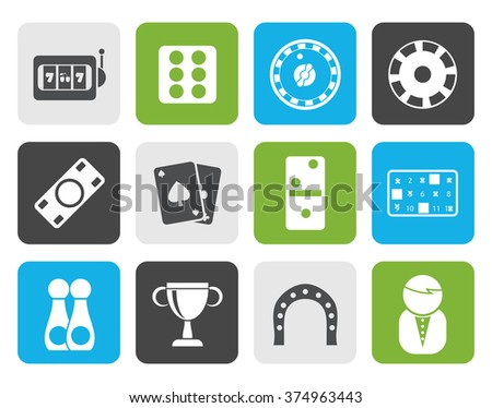 Flat gambling and casino Icons - vector icon set