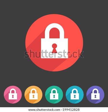 Flat game graphics icon lock - stock vector
