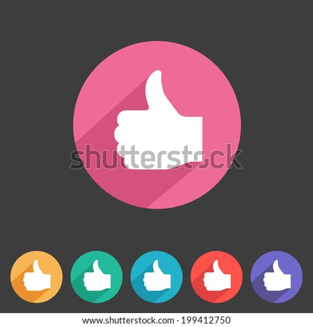 Flat game graphics icon thumbs up - stock vector