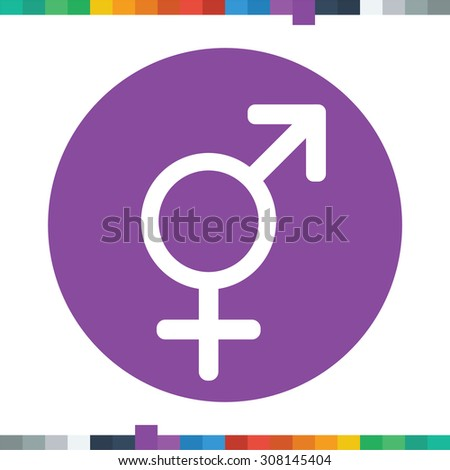 Flat gender equality icon in a circle. - stock vector