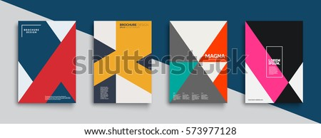 Flat geometric covers design. Colorful modernism. Simple shapes composition. Futuristic patterns. Eps10 layered vector.