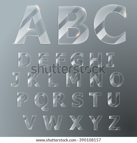 Flat glass letters. Letters with glare. Imitation glass. Vector Latin alphabet. Glass font.