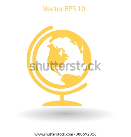 Flat globe icon. - stock vector