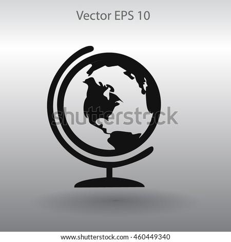 Flat globe icon. - stock vector
