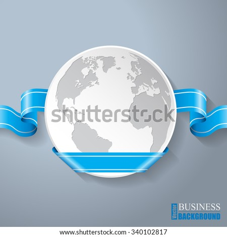 Flat globe with blue curling ribbon background design