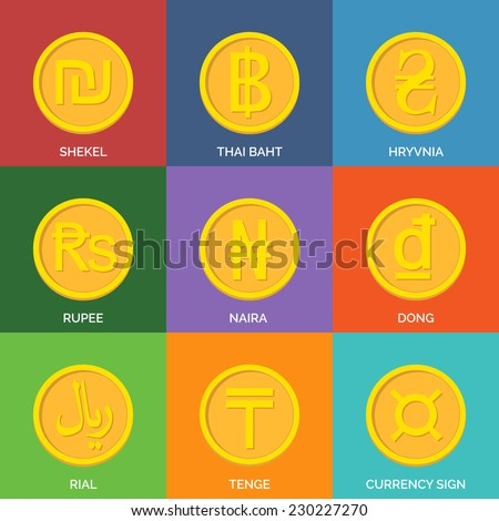 Flat Golden Coins. Currency Icons. Vector illustration. - stock vector