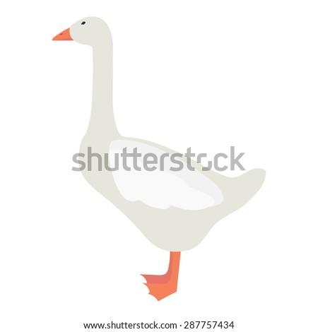Flat goose illustration - stock vector