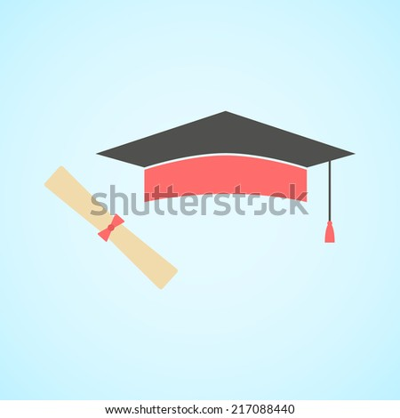 flat graduation cap and diploma, concept of education and knowledge. vector illustration - stock vector