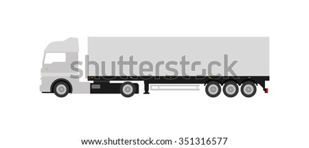 Flat gray cargo delivery truck (on white background). Perfect design element, vector art.