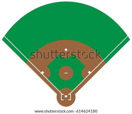 Flat green baseball grass field line vector de stock614624180 flat green baseball grass field with line template vector stadium an overhead view of malvernweather Images