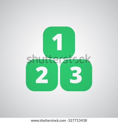 Flat green 123 Blocks icon  - stock vector