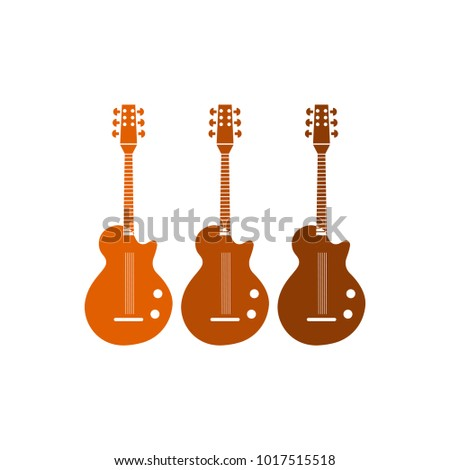 Flat guitar icons isolated on white background for web and mobile