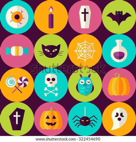 Flat Halloween Party Trick or Treat Seamless Pattern with Colorful Circles. Scary Halloween October Holiday Seamless Background Template.  - stock vector