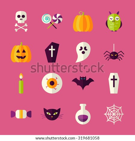 Flat Halloween Trick or Treat Objects Set. Flat Style Vector Illustrations. Autumn Halloween Party Holiday. Tricks and Treats Set. Collection of Objects over Pink Background - stock vector