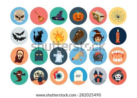 Flat Halloween Vector Icons 1 - stock vector