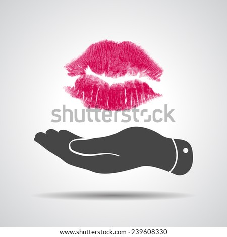 flat hand blowing a kiss icon - vector illustration - stock vector
