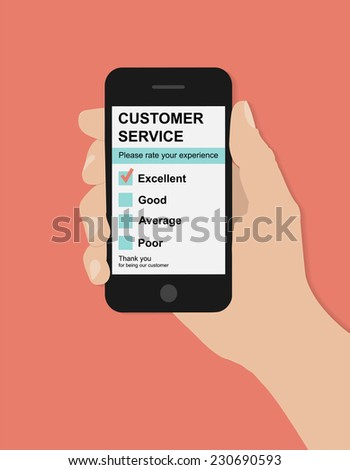 Flat hand holds smart phone with customer service satisfaction survey on red background