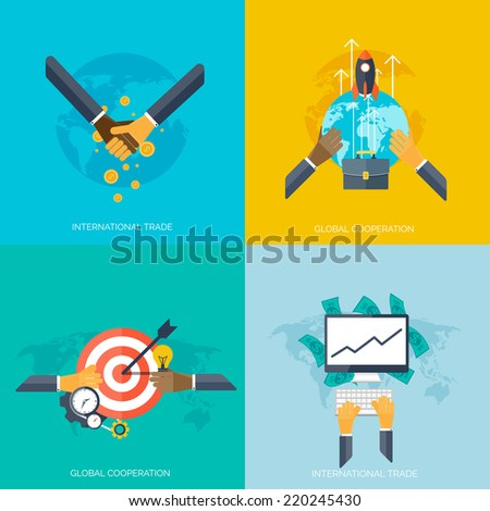 Flat hands. Global cooperation and international trade concept background. Business and moneymaking. Marketing and management. Teamwork and brainstorm. - stock vector