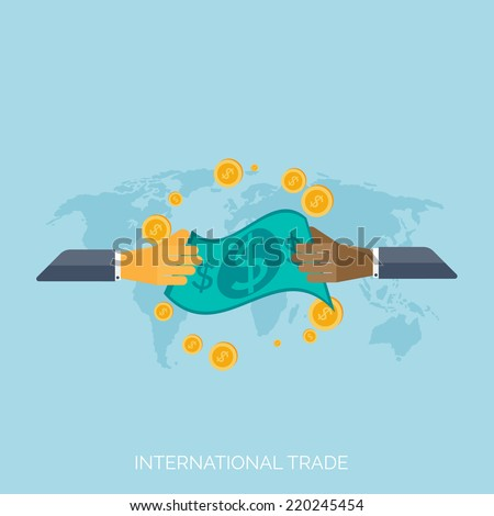 Flat hands. Global international trading concept background. Business and moneymaking. - stock vector