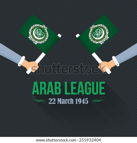 "Flat Hands hold Arab League Flag, Arabic Typographic Text English Translation ""League of Arab States""  - stock vector"